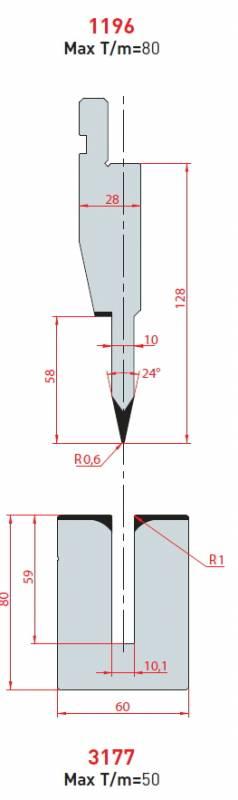 Lemovací nástroj - komplet, délka 835 mm z jednoho kusu Eurostamp