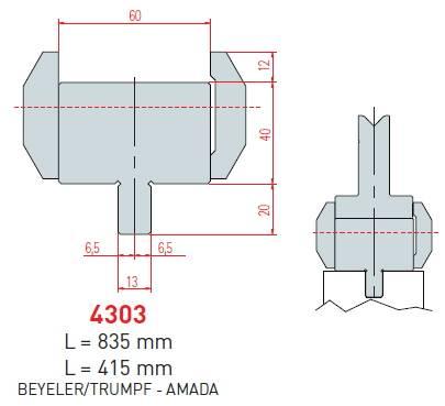 Adaptér Trumpf-Amada délka 835 mm Eurostamp