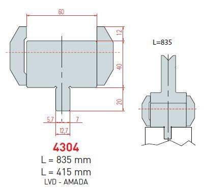 Adaptér LVD-Amada délka 835 mm Eurostamp