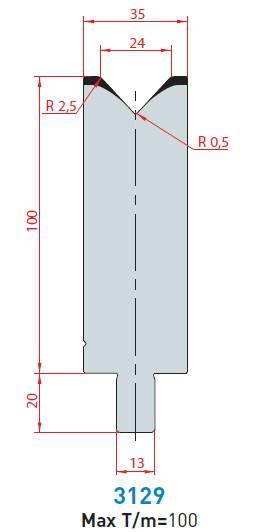 Matrice délka 550 mm dělená Eurostamp