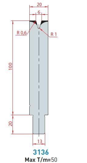 Matrice délka 550 mm dělená