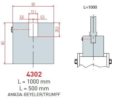 Adaptér Trumpf-Amada délka 1000 mm Eurostamp