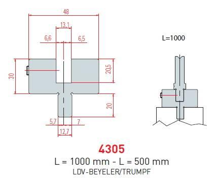 Adaptér Trumpf-LVD-Beyeler délka 1000 mm Eurostamp