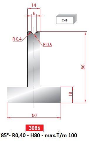 Matrice 85°; délka 805 mm dělená Eurostamp
