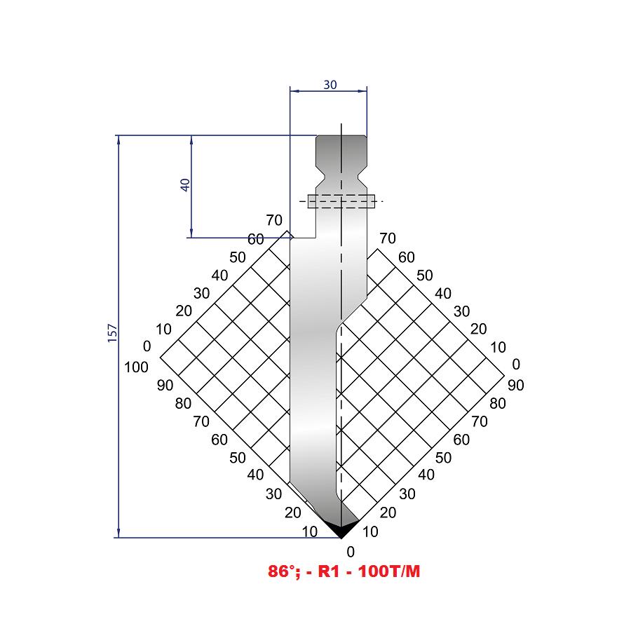Razník - délka 500 mm z jednoho kusu s kolíky Eurostamp