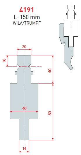 Adaptér Wila/Trumpf délka 150 mm Eurostamp