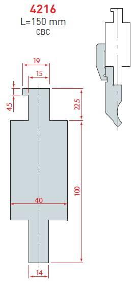 Adaptér CBC délka 150 mm Eurostamp